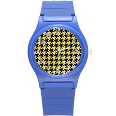 Houndstooth1 Black Marble & Yellow Watercolor Round Plastic Sport Watch (s)