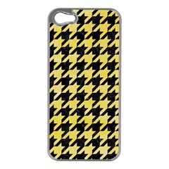 Houndstooth1 Black Marble & Yellow Watercolor Apple Iphone 5 Case (silver)