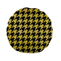 Houndstooth1 Black Marble & Yellow Watercolor Standard 15  Premium Round Cushions