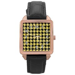Houndstooth1 Black Marble & Yellow Watercolor Rose Gold Leather Watch