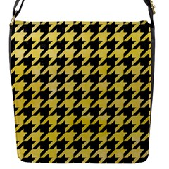 Houndstooth1 Black Marble & Yellow Watercolor Flap Messenger Bag (s)