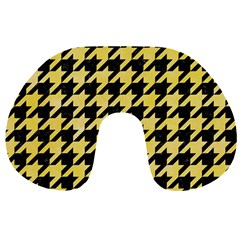 Houndstooth1 Black Marble & Yellow Watercolor Travel Neck Pillows