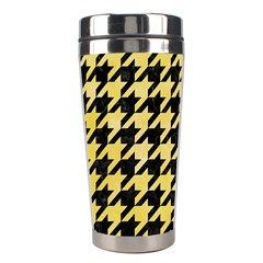 Houndstooth1 Black Marble & Yellow Watercolor Stainless Steel Travel Tumblers