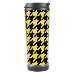 Houndstooth1 Black Marble & Yellow Watercolor Travel Tumbler