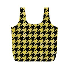 Houndstooth1 Black Marble & Yellow Watercolor Full Print Recycle Bags (m)