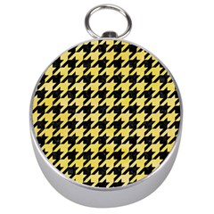 Houndstooth1 Black Marble & Yellow Watercolor Silver Compasses