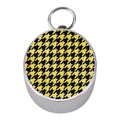 Houndstooth1 Black Marble & Yellow Watercolor Mini Silver Compasses