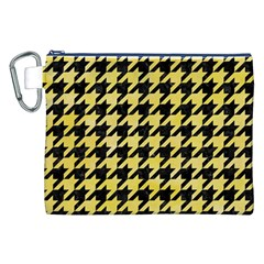 Houndstooth1 Black Marble & Yellow Watercolor Canvas Cosmetic Bag (xxl)