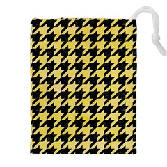 Houndstooth1 Black Marble & Yellow Watercolor Drawstring Pouches (xxl)