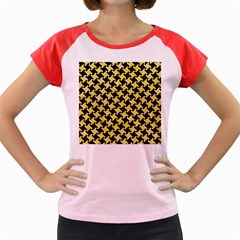 Houndstooth2 Black Marble & Yellow Watercolor Women s Cap Sleeve T Shirt