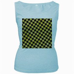 Houndstooth2 Black Marble & Yellow Watercolor Women s Baby Blue Tank Top