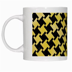 Houndstooth2 Black Marble & Yellow Watercolor White Mugs