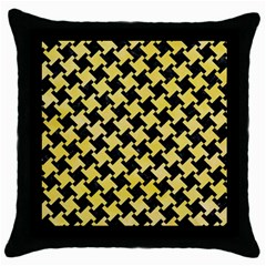 Houndstooth2 Black Marble & Yellow Watercolor Throw Pillow Case (black)