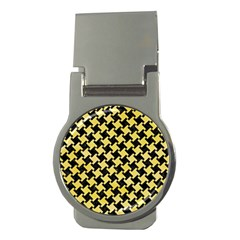 Houndstooth2 Black Marble & Yellow Watercolor Money Clips (round)