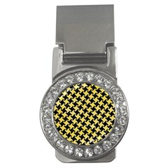 Houndstooth2 Black Marble & Yellow Watercolor Money Clips (cz)