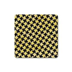 Houndstooth2 Black Marble & Yellow Watercolor Square Magnet