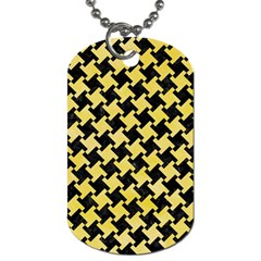 Houndstooth2 Black Marble & Yellow Watercolor Dog Tag (two Sides)