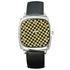 Houndstooth2 Black Marble & Yellow Watercolor Square Metal Watch