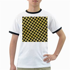 Houndstooth2 Black Marble & Yellow Watercolor Ringer T Shirts