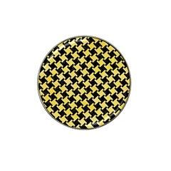 Houndstooth2 Black Marble & Yellow Watercolor Hat Clip Ball Marker