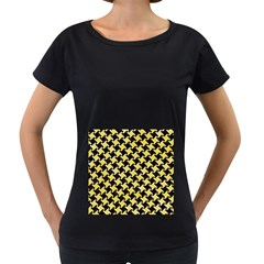 Houndstooth2 Black Marble & Yellow Watercolor Women s Loose Fit T Shirt (black)
