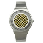 HOUNDSTOOTH2 BLACK MARBLE & YELLOW WATERCOLOR Stainless Steel Watch Front