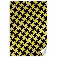 Houndstooth2 Black Marble & Yellow Watercolor Canvas 12  X 18