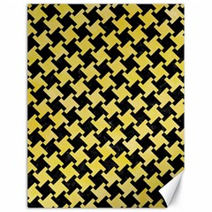 Houndstooth2 Black Marble & Yellow Watercolor Canvas 18  X 24