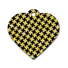 Houndstooth2 Black Marble & Yellow Watercolor Dog Tag Heart (one Side)