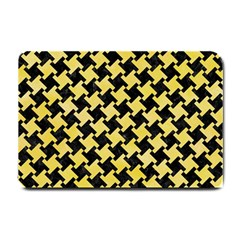 Houndstooth2 Black Marble & Yellow Watercolor Small Doormat
