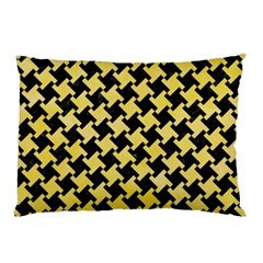 Houndstooth2 Black Marble & Yellow Watercolor Pillow Case