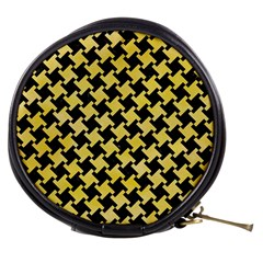 Houndstooth2 Black Marble & Yellow Watercolor Mini Makeup Bags