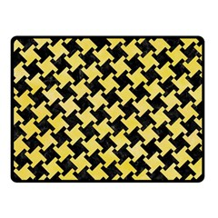 Houndstooth2 Black Marble & Yellow Watercolor Fleece Blanket (small)