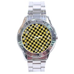Houndstooth2 Black Marble & Yellow Watercolor Stainless Steel Analogue Watch