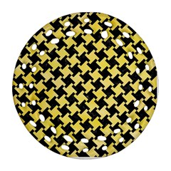 Houndstooth2 Black Marble & Yellow Watercolor Round Filigree Ornament (two Sides)