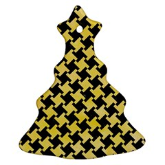 Houndstooth2 Black Marble & Yellow Watercolor Christmas Tree Ornament (two Sides)