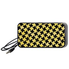 Houndstooth2 Black Marble & Yellow Watercolor Portable Speaker