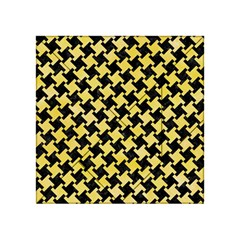 Houndstooth2 Black Marble & Yellow Watercolor Acrylic Tangram Puzzle (4  X 4 )