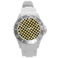 Houndstooth2 Black Marble & Yellow Watercolor Round Plastic Sport Watch (l)