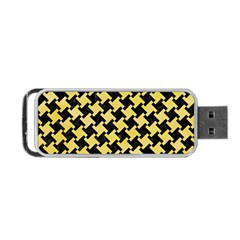 Houndstooth2 Black Marble & Yellow Watercolor Portable Usb Flash (one Side)