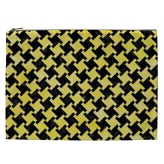 Houndstooth2 Black Marble & Yellow Watercolor Cosmetic Bag (xxl)