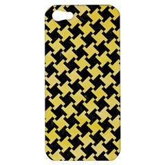 Houndstooth2 Black Marble & Yellow Watercolor Apple Iphone 5 Hardshell Case
