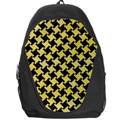 Houndstooth2 Black Marble & Yellow Watercolor Backpack Bag