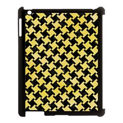 Houndstooth2 Black Marble & Yellow Watercolor Apple Ipad 3/4 Case (black)