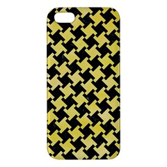Houndstooth2 Black Marble & Yellow Watercolor Apple Iphone 5 Premium Hardshell Case