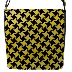 Houndstooth2 Black Marble & Yellow Watercolor Flap Messenger Bag (s)