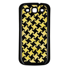 Houndstooth2 Black Marble & Yellow Watercolor Samsung Galaxy S3 Back Case (black)