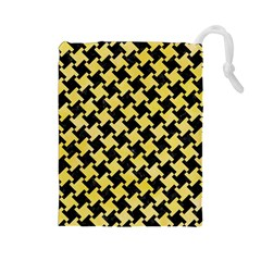 Houndstooth2 Black Marble & Yellow Watercolor Drawstring Pouches (large)