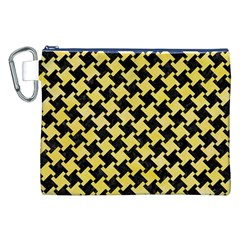 Houndstooth2 Black Marble & Yellow Watercolor Canvas Cosmetic Bag (xxl)