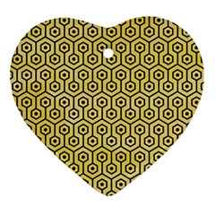 Hexagon1 Black Marble & Yellow Watercolor Ornament (heart)
